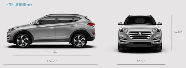 2016 hyundai tucson dimensions length width height. Black Bedroom Furniture Sets. Home Design Ideas