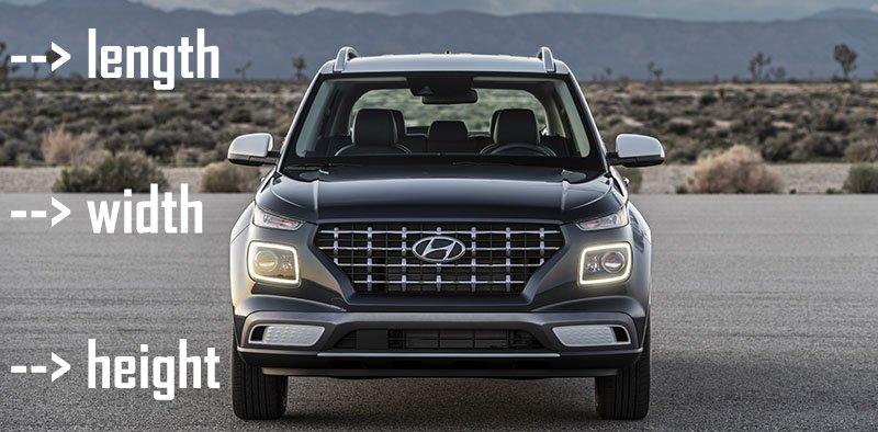 Hyundai Venue exterior dimensions